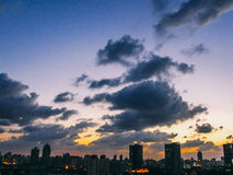 Shanghai Skyline City Panorama with colorful sky sunset and cloud in Shanghai royalty free stock images