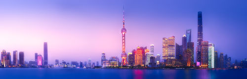 Shanghai skyline cityscape. Beautiful chinese cityscape of Shanghai`s skyline with the city lights and tower on the Huangpu River bay, Shanghai, China Stock Image