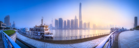 Shanghai skyline cityscape. Beautiful chinese cityscape of Shanghai`s skyline with the city lights and tower on the Huangpu River bay, Shanghai, China Stock Images