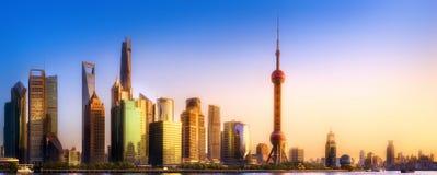Shanghai skyline cityscape stock photos