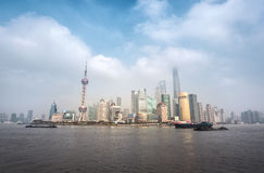 Shanghai skyline with cloudscape Royalty Free Stock Photo