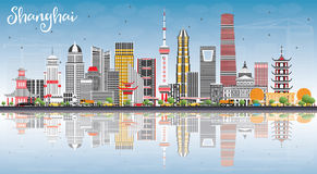 Shanghai Skyline with Color Buildings, Blue Sky and Reflections. Vector Illustration. Business Travel and Tourism Concept with Modern Architecture. Image for royalty free illustration