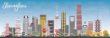 Shanghai Skyline with Color Buildings and Blue Sky. Vector Illustration. Business Travel and Tourism Concept with Modern Architecture. Image for Presentation stock illustration