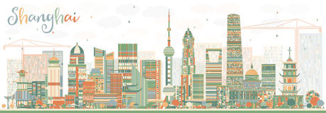 Shanghai Skyline with Color Buildings. Vector Illustration. Business Travel and Tourism Concept with Modern Architecture. Image for Presentation Banner Placard royalty free illustration