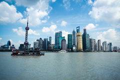 Shanghai skyline with cruise Stock Photo