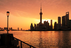 Shanghai Skyline dawn Stock Photos