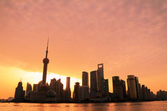 Shanghai Skyline dawn Royalty Free Stock Photo