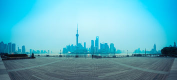 Shanghai skyline at dawn royalty free stock photography