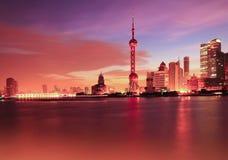 Shanghai skyline at dawn Royalty Free Stock Photo