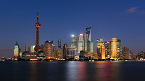 Shanghai skyline, day to night, timelapse stock video