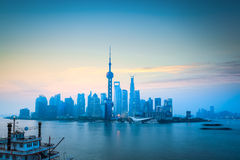 Shanghai skyline in daybreak Royalty Free Stock Photography