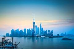 Shanghai skyline in daybreak Royalty Free Stock Photography