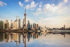 Shanghai skyline at dusk Stock Images