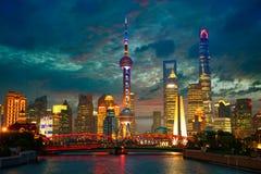 Shanghai skyline at dusk Royalty Free Stock Photos