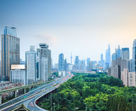 Shanghai skyline and elevated road Stock Photos