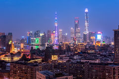 Shanghai Skyline. Elevated  view of Shanghai skyline at night Royalty Free Stock Photos