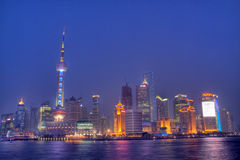 Shanghai Skyline during EXPO. The famous Pudong skyline during EXPO 2010 Stock Photos