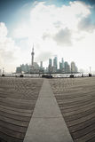 Shanghai skyline in fish-eye perspective Stock Photography