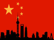Shanghai skyline with flag of china. Vectored illustration as silhouette of the chinese city of shanghai, by borders of the skyline, with skyscrapers and towers vector illustration