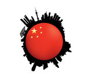 The Shanghai Skyline Flag Globe. Vector illustration of the Shanghai Skyline with China Flag stock illustration