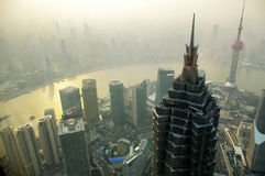 Shanghai skyline in the fog Stock Image