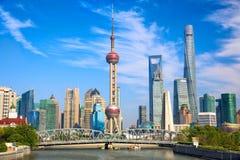 Shanghai. Skyline with historical Waibaidu bridge, China royalty free stock image