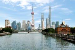 Shanghai skyline with historical Waibaidu bridge, in Shanghai Ch Royalty Free Stock Image