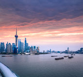 Shanghai skyline with huangpu river at dusk Stock Images