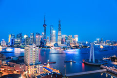 Shanghai skyline and huangpu river in nightfall Royalty Free Stock Photo