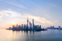 Shanghai skyline and huangpu river in sunup. Charming metropolitan background stock images