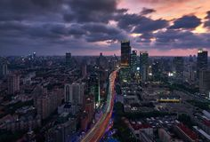Shanghai Skyline In Twilight Stock Photography