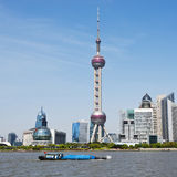 Shanghai skyline. Located in the Huangpu River, Pudong Lujiazui on the tip, and the Bund International Architecture Exhibition group across the river, and the Stock Photo