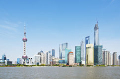 Shanghai skyline. Located in the Huangpu River, Pudong Lujiazui on the tip, and the Bund International Architecture Exhibition group across the river, and the Royalty Free Stock Photo