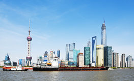 Shanghai skyline. Located in the Huangpu River, Pudong Lujiazui on the tip, and the Bund International Architecture Exhibition group across the river, and the Stock Image