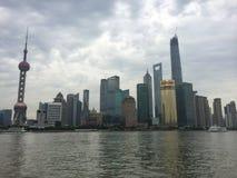 Shanghai-Skyline Lujiazui im Juli 2014 Stockbild