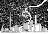Shanghai skyline with map. Vector drawing of Shanghai skyline with map. China travel landmark. Black and white illustration cover and background concept stock illustration