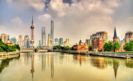 Shanghai skyline with modern urban skyscrapers Stock Images