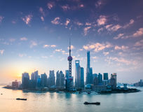 Shanghai skyline with morning glow Royalty Free Stock Photography