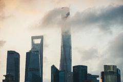 Shanghai Skyline in morning light. View on bussines centre Stock Images