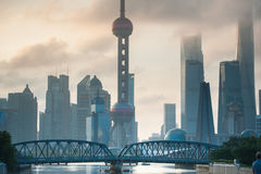 Shanghai Skyline in morning light. View on bussines centre Royalty Free Stock Photos