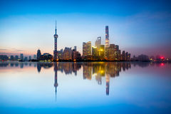 Shanghai skyline. In the morning with reflection, Shanghai China Stock Image