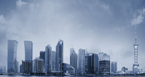 Shanghai skyline at New night Stock Image