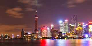 Shanghai skyline at night 2. Shanghai skyline(panorama) at night. People republic of China Royalty Free Stock Photography