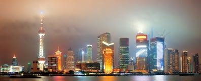 Shanghai skyline at night Royalty Free Stock Photo