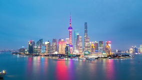 Shanghai skyline at night stock video