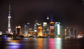 Shanghai skyline by night. China Royalty Free Stock Images