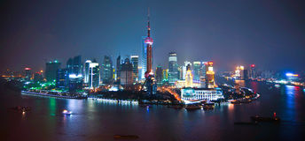 Shanghai skyline by night Stock Photo