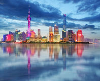 Shanghai skyline at night, China Stock Photos