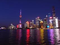 Shanghai Skyline at night Stock Photography