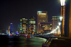 Shanghai skyline night stock photos